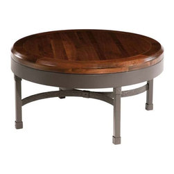 Stone County Ironworks - Cedarvale Iron Coffee Table w Walnut Wood Top (Antique Copper) - Finish: Antique Copper. Heavy iron band supports thick walnut wood top. Table combines smooth surfaces with rich textures. 36 in. W x 36 in. D x 20 in. H (87 lbs.)Table combines smooth surfaces with rich textures. The design is highly transitional, fitting nicely into almost any decor from elegant to rustic, old world or even contemporary.