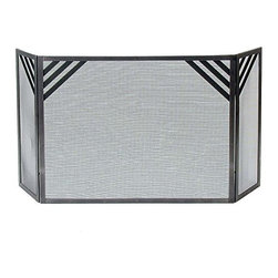 """Enclume - Premier Chevron Fireplace Screen Hammered Steel - Dimensions: 56""""W x 1""""D x 28""""H; Center 36""""W; Sides 10""""W"""