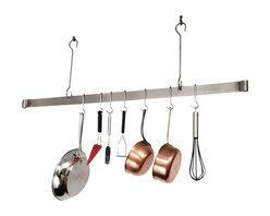 "Enclume - Enclume Offset Hook Ceiling Bar Pot Rack Stainless Steel 60"" - A hit from the moment Enclume introduced them! These racks keep your cookware, cookbooks, and other necessities at your fingertips. The arms can be rotated to support rack from the bottom. Includes matching grid. The PR8c, in hammered steel only, has an additional spice shelf on top."