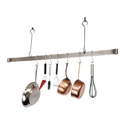 Enclume - Enclume Deep Bookshelf Rack Pot Rack Hammered Steel - It's the smartest storage solution going for cooks like you. Hammered steel hanging racks that hold your pots, pans, cookbooks and more. Your fingertips will thank you!