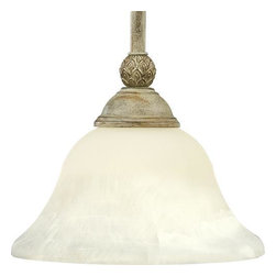 """Progress Lighting - P5040-42 Progress Lighting Savannah - Progress Lighting P5040 Savannah Mini Pendant One-light stem-hung mini-pendant Antique alabaster glass bowl Pineapple patterned details Included 2-12. This product by Progress Lighting is offered in seabrook. Requires one 100-watt clear incandescent bulb. Antique Alabaster glass. Hand painted finish. Steel construction. Pineapple pattern details. Decorative stamped canopy. All mounting hardware included. UL-CUL Listed. Threaded socket ring secures glass. Stem hung from ceiling. Covers outlet box. Includes (2) 12"""", and (2) 15"""" stems. Stems have internal couplers to attain various lengths. Canopy: 6"""" dia. Includes 10 feet of wire. Width: 8-3/4"""". Height: 6-3/4"""". Overall Height: 64"""". Canopy: 6"""" dia. Total Wattage: 100."""
