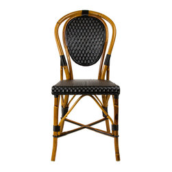 Black Mediterranean Bistro Chair - These rattan-framed stools are part of the iconic French bistros of Le Midi, or the south of France. Hand-woven and artisan crafted, these French style bistro bar stools in bright synthetic material, will add a pop of color to your outdoor or indoor space.