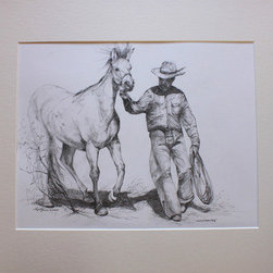 Whispering (Original) by Lindy Cook Severns - We once stood silent as corral posts and watched a horse whisperer work his gentle magic on a leery horse. I tried to capture the patience of the cowboy and the wary acquiescence of the horse in this drawing. (An hour later, this horse willingly wore a saddle.) Matted in acid-free ivory mat board to fit a standard sized 16x20 frame.
