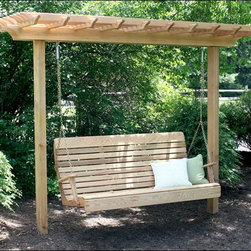 Fifthroom - Red Cedar Marquis Arbor - So, you can't decide whether you want a porch swing or an arbor?  Thank goodness you found us!  This Western Red Cedar arbor is spaced and constructed to hold a porch swing right under it.  Perfect for those without large expanses of space, this arbor won't just support your plants... but a porch swing as well! (Note: Porch Swing Not Included)