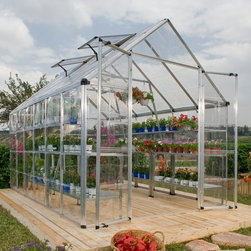 Palram - Palram Snap & Grow 8 x 20 ft. Greenhouse - HG8020 - Shop for Greenhouses from Hayneedle.com! Additional FeaturesPanels are virtually unbreakable and 100% UV protectedAdjustable roof vent allows for cross ventilationAmple headroom for taller plantsYour choice of frame colorAssembles in about a day with very few toolsLimited 5 year warrantyGrow and share your own plants flowers and produce with friends and family with the Palram Snap & Grow 8 x 8 ft. Greenhouse. This upscale greenhouse is easy to assemble and features crystal-clear SnapGlas panels which are 100% UV protected and virtually unbreakable. Designed to lock into place easily this greenhouse can be assembled in about a day with the use of very few tools. The heavy duty aluminum frame is strong and durable and the height of this greenhouse will insure you have plenty of growing space. The large double doors along with the adjustable roof vent provide ample vent