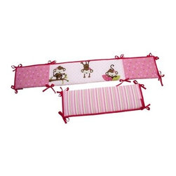 Little Bedding by NoJo 3 Little Monkey Girl Crib Bumper - It's time to monkey around with the pink-themed Little Bedding by NoJo 3 Little Monkey Girl Crib Bumper. Decorated with happy-go-lucky monkeys, this four-piece bumper is made of a polyester and cotton blend, and is designed to fit most standard-sized cribs.About NoJoOffering fashionable, safe, and reliable products throughout the United States for the past 40 years, NoJo's goal is to offer fashion-forward infant and toddler bedding, blankets, and accessories that meet the demands of today's modern lifestyle. NoJo puts not only style into their products, but comfort and safety, too.