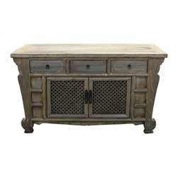 Golden Lotus - Rustic Raw Wood Bold Look Sideboard Buffet Table - This is a rough wood side table with nice carved side apron , three drawers and open see through doors. It is a decorative functional piece for the modern home.