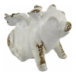 White Ceramic Flying Pig Angel Statue Distressed Finish - This darling angel piggy has a wonderful distressed finish, making it look like an antique straight out of the old farmhouse. Made of ceramic, with a glossy white glaze, it measures 6 inches tall, 5 inches wide, and 9 inches long. It is sure to be admired, and makes a great gift for pig collectors.