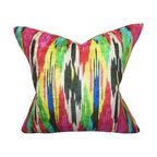 """The Pillow Collection - Ulyanka Geometric Pillow Jewel 18"""" x 18"""" - Add a pop of color to your dull and lackluster space with this bright toss pillow. Place it on your sofa. chair or seat to create a rich and colorful texture to your interior. Designed with a jewel-toned geometric pattern, this 18"""" pillow is a definite must-have for your home. Constructed with the finest quality of 100% polyester fabric. Hidden zipper closure for easy cover removal.  Knife edge finish on all four sides.  Reversible pillow with the same fabric on the back side.  Spot cleaning suggested."""