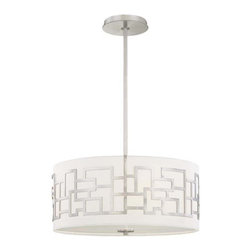 George Kovacs - Alecia Necklace Brushed Nickel Three-Light Pendant - -White Fabric Shade  -Adjustable To 51H Max.  -Etched Diffuser  -Includes one 6 and three 12 stems George Kovacs - P194-084