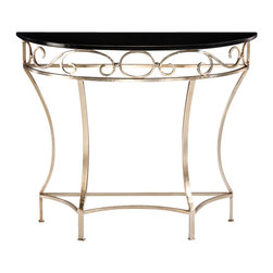 "Inviting Home - Wrought Iron Console Table - hand-wrought iron console table with lightly antiqued silver leaf finish and marble top 41-1/4""W x 12-3/4""D x 34""H hand-made in Italy Hand-wrought iron console table. Console table has lightly antiqued silver leaf finish and absolute black marble top. This console table is hand made in Italy."