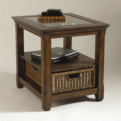 Magnussen Furniture - Rectangular End Table - Tanner - Combine natural woven rattan with rich wood tones for a winning end table. This antique style table features a glass top and a rattan basket drawer. The wood tones are earthy and vibrant. The sturdy table has straight legs that can stand up to many parties. Espresso finish with an antiqued wood tone rub through. One shelf, one drawer. Rectangle end table. Glass top. 22 in. W x 26 in. D x 24 in. H