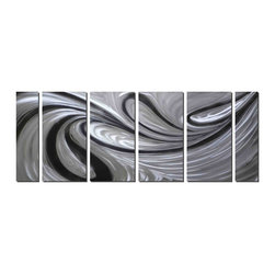 Pure Art - Quicksilver Modern Metal Art Set of 6 - An artistic study of contrast and light, motion and dimension, this artwork is based on a monochromatic combination of black, silver and white, which is a favorite contemporary color palette. It features swirls of silver on a black backdrop. The backdrop and white highlights accenting the silver add depth and perceived, undulating form and motion.Made with top grade aluminum material and handcrafted with the use of special colors, it is a very appealing piece that sticks out with its genuine glow. Easy to hang and clean.