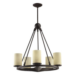 "Quorum International - Quorum International 6128-5  Five Light Up Lighting Chandelier from the Lone Sta - Five light up lighting chandelier featuring Amber Scavo GlassRequires 5 60w Medium Bulbs (Not Included)Height adjustable with Two 8"", Two 12"", and 3 16"" rods included"