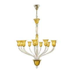 Cyan Design - Cyan Design Vetrai Murano Style Glass 10-Light Chandelier X-00-01-9056 - This lovely color palette incorporates a rich amber finish with hints of chrome found in the sculpted Murano style glass shades. The lovely form is accentuated with refined details and classically-inspired carvings. The center column looks strong and distinguished while the graceful arms add a nouveau look to the traditional styling. The Cyan Design Vetrai Murano Style Glass chandelier is a great d&#233:cor accent to your lovely home.