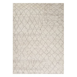 Jaipur Rugs - Jaipur Rugs Hand-Knotted Soft Hand Wool Ivory/Brown Area Rug, 2 x 3ft - A distinct play of warp and weft, bringing forth a timelessly fashionable add-on to any space.