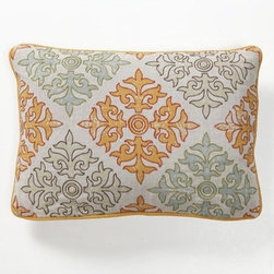 "Villa Home - Illusion Tilework Accent Pillow - Features: -Pillow cover material: 100% Linen. -Pillow insert material: 95% Feather / 5% down - 100% cotton cover. -Digital Print front. -Dimensions: 14"" W x 20"" D, 1 lb."