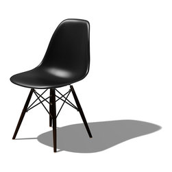 Herman Miller - Eames Dowel Leg Side Chair - Inspired by Herman Miller, designed by one of the most renowned design duos, this dowel leg side chair is brilliant. Famous for its design, the wooden dowel legs and geometric form give the molded plastic chair a softer feel.
