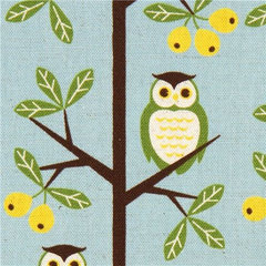fabric blue owls canvas fabric by Kokka from Japan