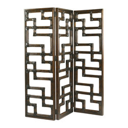 Henry Link - Henry Link Kilimanjaro Screen in Golden Bamboo Finish - Henry Link - Room Dividers - 0140111099 - About This Product: A three-panel hinged screen in a contemporary pattern of leather-wrapped rattan.