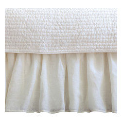 Taylor Linens - Linen Voile Cream Crib Bed Skirt - Lightweight, open-weave linen voile has a beautiful drape and whisper-soft texture that needs no other adornment. Simple and romantic as a summer day, this bedskirt will add a gentle touch of pastoral charm to your baby's crib.