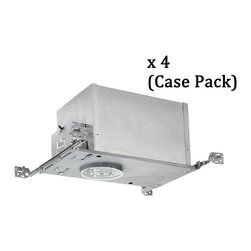 Juno Lighting Group - 4-Inch Low Voltage Recessed Can- Case Pack of Four - IC-44N-CASE - New construction low voltage recessed housings. Case pack of four. This four pack of air tight, double-wall constructed low voltage-watt housings is built for new construction or ceilings with access from above. It can be completely covered with insulation and vertically adjusts to accommodate up to a 1-inch ceiling thickness. The bar hangers may be re-positioned 90 degrees. A thermally protected magnetic transformer is included, ensuring automatic shutdown if improper bulb wattage is used. Meets Washington State IECC and MEC codes and conforms with City of Chicago IP requirements. UL listed. Takes (1) 50-watt halogen MR-16 bulb(s). Bulb(s) sold separately. CSA listed. Damp location rated.