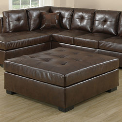 """Monarch - Dark Brown Bonded Leather/Match Ottoman - Dark Brown Bonded Leather/Match Ottoman; Material: Bonded Leather, Wood, Plywood; Dimensions: 43""""L x 43""""W x 20""""H; Seat height from floor: 19"""""""