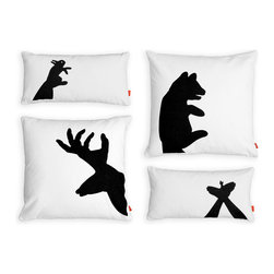 Gus Modern - Gus Modern Shadow Puppet Pillows, Set of 4 - Your remember that crazy uncle who used to hold his hands up to the light and make those crazy animal shadow puppets? Here's a set of four pillows inspired by everyone's crazy uncle. See if you can mimic the patterns yourself.
