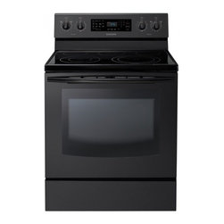 """Samsung - NE595R0ABBB 30"""" Freestanding Electric Range With 5 Burners  5.9 Cu. Ft.  Self-Cl - The Samsung Appliance NE595R0AB 59 Cu Ft capacity oven is one of the largest on the market and is spacious enough to fit that holiday meal you may be planning With the SteamQuick rapid steam cleaning cleaning is fast easy and energy efficient that re..."""