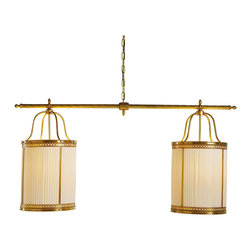 Baker Furniture - Lyre Lantern (Double) - Two lanterns are suspended from a graceful horizontal bar to create a chandelier of grand proportions and elegance. This chandelier can be placed over a large dining table, in an entry or over a billiards table. The soft, diffused light seen through the pleated shades subtly draws attention to the decorative metalwork of the lanterns.