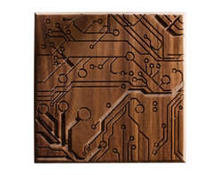 DMWR - Circuit Wall Art - San Francisco artist Dave Marcoullier finds beauty at the heart of modernity. This intricate, hand carved piece turns the patterns of a circuit board into abstract art. The walnut wood panel lends an earthy warmth to the busy electrical design, making it feel like a natural part of your environment. You'll be surprised how easily this distinctive piece fits into your modern decor.