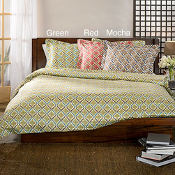 None - Turino Print 3-piece Duvet Cover Set - Give your bedroom a makeover and ensure a good night's sleep with this duvet cover set. You can get it in either brown,green or red so you can color coordinate with it,and it's made from 100 percent cotton so it feels soft and comfortable.