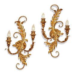 Currey & Co - Currey & Co 5422 Panache Gold Leaf Wall Sconce - 2 Bulbs, Bulb Type: 60 Watt Candelabra; Weight: 8lbs
