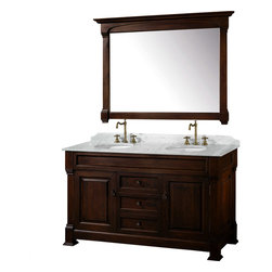 "Wyndham Collection - Wyndham Collection 60"" Andover Double Sink Bathroom Vanity Set in Dark Cherry - A new edition to the Wyndham Collection, the beautiful Andover bathroom vanity series represents an updated take on traditional styling. The Andover is a keystone piece, with strong, classic lines and an attention to detail. The vanity and solid marble countertop are hand carved and stained. Available in Black and Dark Cherry finishes to match any decor. Available in a range of single or double vanity sizes to fit any bathroom."