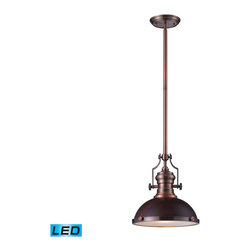 Elk Lighting - EL-66546-1-LED Chadwick LED 1-Light Pendant in Dark Walnut and Antique Copper - The Chadwick Collection reflects the beauty of hand-turned craftsmanship inspired by early 20th century lighting and antiques that have surpassed the test of time. This Robust Collection features detailing appropriate for classic or transitional decors. Finishes include polished nickel, satin nickel, antique copper and oiled bronze.�Various diffuser options, including glass, metal, and wood printed metal shades, allow for adaptability to almost any design scheme. - LED offering up to 800 lumens (60 watt equivalent) with full range dimming. Includes an easily replaceable LED bulb (120V).