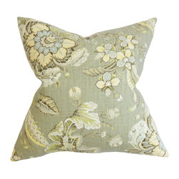 """The Pillow Collection - Eluned Floral Pillow, Green - With a refreshing and eye-catching floral pattern, this decor pillow is perfect addition to your collection of home accessories. The garden-inspired detail features shades of gray, blue, green and white hues. Toss this 18"""" pillow on top of your sofa, bed or love seat. Crafted with a blend of 55% linen and 45% rayon. Hidden zipper closure for easy cover removal.  Knife edge finish on all four sides.  Reversible pillow with the same fabric on the back side.  Spot cleaning suggested."""