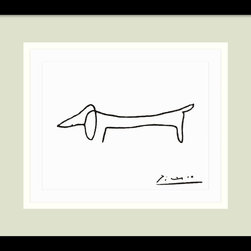 Amanti Art - Le Chien (The Dog) Framed Print by Pablo Picasso - The dog lover in you—not to mention the art lover—will find endless amusement in this improbable Picasso print. A minimalist line drawing with maximum appeal, the darling dachshund adds just the right touch to your decor.