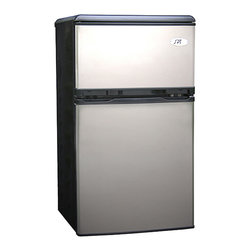 SPT - SPT RF-320S Stainless Steel Double Door Refrigerator - The stainless steel,double-door refrigerator is great for those wanting to save space while keeping food cool. Ideal for college dorms and office spaces,this versatile refrigerator offers a reversible door for your convenience and easy access.