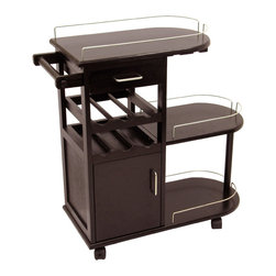Winsome - Entertainment Cart - Bring the fun right to your guests with this handy rolling entertainment cart. Hold and tote wine bottles and glasses and more. 2 drawers and 3 shelves plus a rod for bar towels.
