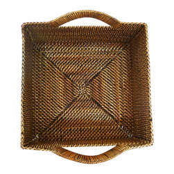 "Calaisio - Small Square Bread Basket - 7"" Square x 3.25"" This hand woven basket is created from a water vine that only grows in the mountainous areas of the South Pacific. Once reaped it grows back quickly, leaving no damage in these ecologically sensitive forests. Each piece has a card attached, signed by the artisan that created it. It also lists the time it took for he or she to weave."