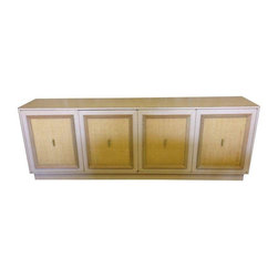 """Pre-owned Grass Paper & Formica Mid-Century Sideboard - Seller says:  """"This piece was in my home growing up. My parent's bought it in the early 50's somewhere in Miami, FL. It is 97"""" long. Four doors with drawers, slots and shelving. It is covered in formica. The doors have framed grass paper fronts with brass pulls. It is in good condition. No major flaws. This is a large piece but would fit perfectly in the right home."""""""