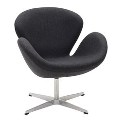 IFN Modern - Swan Inspired Chair-Dark Grey - Cashmere Wool - The Swan Chair was originally created by the Danish designer and architect Arne Jacobsen for the prestigious Amsterdam Royal Hotel. Jacobsen's original design was created in 1958 and his artistic vision is represented in this piece- he was motivated by the movement to adapt more organic forms into contemporary interior design. The Swan Chair simultaneously boasts an element of elegance and comfort. The shape of this chair adds intrigue to a variety of spaces with its light, airy appearance and at the same time it's beautiful shape invites one to feel relaxed.