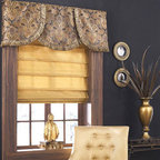 Sheer Roman Shade In Family Room Or Den Contemporary