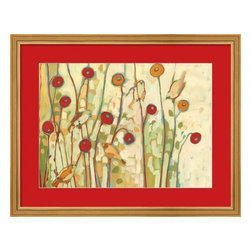 5 Little Birds Playing Amongst the Poppies Jennifer Lommers - Red Mat Gold Frame - 5 Little Birds Playing Amongst the Poppies Jennifer Lommers - Red Mat Gold Frame