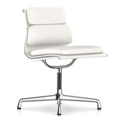 Herman Miller - Eames Soft Pad Armless Side Chair - A crisp, midcentury modern classic for your space. This beautiful side chair embraces elegance — and comfort. It features a pad for the seating area and a dual-tiered cushion backrest.