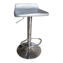 """Acme - Set of 2 Sybill Modern Style Retro Look Silver and Chrome Adjustable Bar Set - Set of 2 Sybill modern style retro look silver finish and chrome adjustable bar stools with flat back and chrome base with hydraulic lift. This set includes 2 stools with chrome base and ABS plastic seats with hydraulic lift. Bar stools measure adjustable from 27"""" - 35""""H. Some assembly required."""