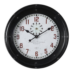 Uttermost - Philly Wall Clocks - Philly Wall Clocks by Uttermost. Rustic black frame with an antiqued clock face. Quartz movement.