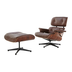Eames Lounge Chair & Ottoman Style, Vintage Antiqued Brown Aniline Leather & Pal - Our Eames-Style Lounge Chair seat cushions are perfectly contoured. The pitch is a 15% recline and the high back provides the utmost in comfortable seating. Our signature replica of the original Eames Lounge Chair comes complete with all the original features. From the leather and die cast aluminum base to the Kiln Dried Polyurethane real wooden shell, no detail has been overlooked. You can purchase your very own piece of history.