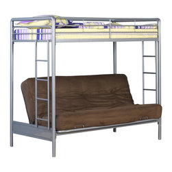 Ameriwood - DHP Twin over Futon Bunk Bed in Silver - Ameriwood - Bunk Beds - 3156096 - The simple style and stability of DHP's Twin-Over-Futon Bunk Bed make it the perfect choice for space-saving sleep options. The silver metal finish will look good with any decor and the frame is solid and secure. Added safety features include a full-size guardrail for the top bunk and an integrated ladder. With the futon on the bottom you have the versatility of either a seating space or an additional bed for overnight guests siblings and sleep-overs. You will love the convenience flexibility and change ability of DHP's Twin-Over-Futon Bunk Bed in silver.
