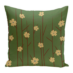 e by design - Floral Branches Green 16-Inch Cotton Decorative Pillow - - Decorate and personalize your home with coastal cotton pillows that embody color and style from e by design  - Fill Material: Synthetic down  - Closure: Concealed Zipper  - Care Instructions: Spot clean recommended  - Made in USA e by design - CPO-NR5-Branches_Flowers-16
